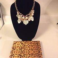 NWT Betsey Johnson Lace Skulls White Pink Beaded Cluster Statement Necklace