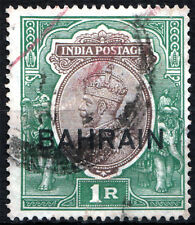 BAHRAIN 1933-37 KGV 1Rs ovp on INDIA stamp  SG 12. SC 12.  Cat £12  Used