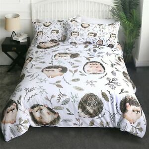Hedgehog Leaves Nature Animal King Queen Twin Quilt Duvet Pillow Cover Bed Set