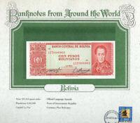 World Banknotes Bolivia P-164A 100 Pesos 1962 (1983) UNC Prefix 17T