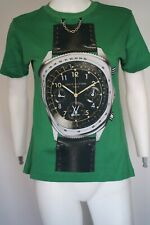 $900 LOUIS VUITTON Green T-Shirt With Printed Oversized Watch Woman Size Small