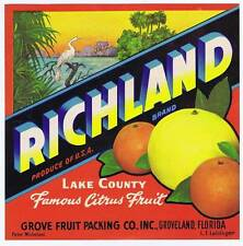 Richla, original florida orange crate label, lake county, grove fruit packing co