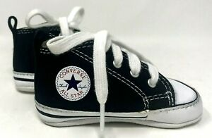 Baby Shoes Converse Crib Booties, Black Lace Ups First All Star, Crib Size 2