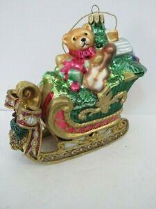 Fitz & Floyd Blown Glass & Resin Santa Sleigh Ornament