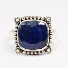 925 Sterling Silver Sapphire Gemstone Ring Size 9 US Jewelry CCIRG-10361