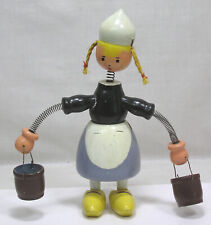 Vtg Wood Figure Nodder Dutch Girl w Spring Arms and Carrying Buckets 1940s