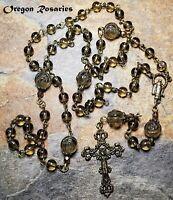 Smoky Quartz Gemstone Rosary, Carved Flower Paters, Bronze  #OR1839b