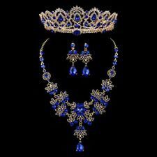 Jewelry Set Vintage Crystal Bridal Rhinestone Tiaras Crown Necklace Earrings New