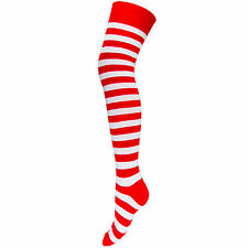 NEW LADIES FANCY DRESS PARTY RED WHITE STRIPED OVER KNEE THIGH SOCKS HEN