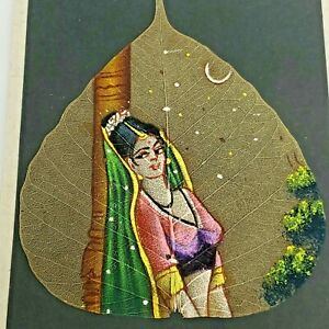 Vtg Hand-Painted Oil Painting Of Woman On Skeleton Pipal Tree Leaf Peepal India