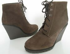 NEW RAVEL SIZE 6 39 WOMEN BROWN SUEDE LACE UP WINTER ANKLE BOOTS BOOTIES WEDGES