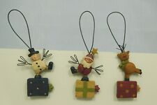 Set of 3 mini Santa, Reindeer & Snowman ornaments - New by Blossom Bucket #50184