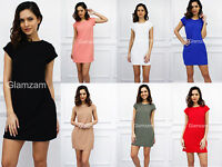 Glamzam New Womens Ladies Party Shift Mini Short Cap Sleeve Day Casual Dress