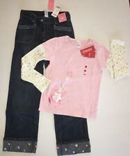 NWT Gymboree Rising Star Sz 12 Gem Cuff Jeans & Pink Guitar Top