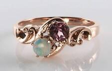 Lush 9Ct 9K Rose Gold Pink Tourmaline & Opal Art Deco Ins Me & You Ring Free Sz