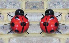 2x Large Metal Ladybird Summer Garden Decoration Ornament Wall Art