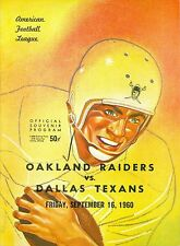 September 16th, 1960 Dallas Texans vs Oakland raiders 2nd football program
