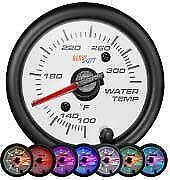 GlowShift 52mm White 7 Color Water Temperature Gauge 100 to 300 Fahrenheit