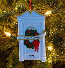 White Front Door w/ Wreath - Our First Home Personalized Christmas Ornament