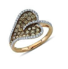 14K Rose Gold Pave Brown Champagne Diamond Heart Right Hand Ring