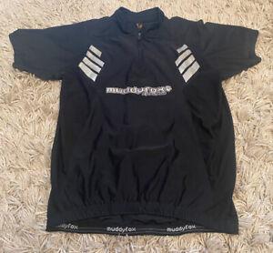 Men's Muddyfox A Pure Breed Cycling jersey Top Shirt Black Size Large Fox Print