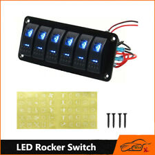 LED Rocker Switch Panel Breaker & Decal 12/24V Car Marine Boat 6 Gang Dual Blue