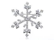 Crystal Elements Winter Holiday Season Shimmer Snowflake Pin Brooch Silver Gifts