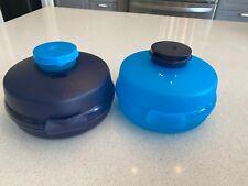 Tupperware Round Sandwich/Bagel Keepers + Smidgets - NEW Blue Set Salad Box