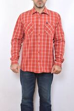 Gas Style Mens Casual Shirt Checked White Red Cotton Long Sleeved XL Vintage 90s