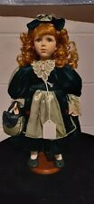 Vintage Geppeddo Red Haired Porcelain Girl With Green Dress W/Stand