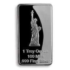 USA Statue of Liberty eagle 1 troy ounce silver plated bar rectangular token
