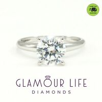 2 Ct Round Cut Lab-Created Solitaire Diamond Engagement Ring Solid .950 Platinum