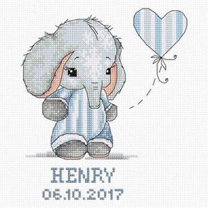 Luca-S ~ Counted Cross Stitch Kit ~ Baby Boy ~ Elephant ~ Birth Record ~ B1134