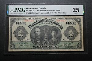 1911 Dominion of Canada $1 Note DC-18d PMG 25