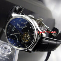 43mm PARNIS black dial date power reserve ST2505 automatic movement mens watch