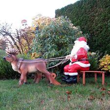 WEIHNACHTSMANN NIKOLAUS auf SCHLITTEN mit 2 Rentieren Deko Weihnachten