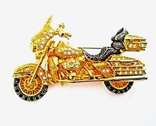 Tone Crystals Pin Vintage Motorcycle Gold