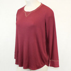 Cacique by Lane Bryant Plus Burgundy Cozy Thermal Lounge Pajama Top Size 22/24