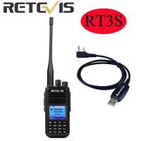 Retevis RT3S Dual Band DMR UHF/VHF Analog Digital 2Way Radio+Programming Cable
