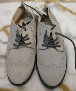 NWT Boys Size 1 Wingtip Oxford Dorsey Shoes Dressed Up Gymboree Beige Tan Gray