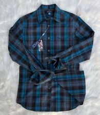 MADE by Cam Newton Men's Turquoise Blue Plaid Long Sleeve Button Down Size Small