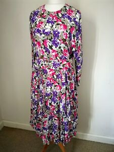 Size 14 Vintage Prairie Style Pink, Purple, Green Floaty Tapered Wrap Dress