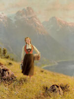 Oil painting Hans Dahl - Young Girl by a Fjord landscape & mountains river 36""