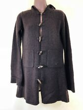 ROXY chocolate brown duffle toggle hooded cardigan with wide sleeves size 12
