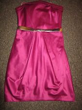 BNWT £45 River Island Dress UK 8 Deep Pink Strapless Gold Belt Satin Feel Party