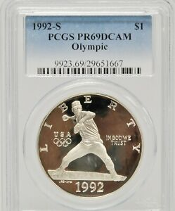 1992-S US PCGS PR69DCAM OLYMPIC BASEBALL Silver Slabbed Certified $1 Coin Round