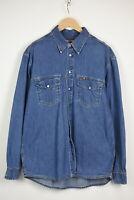 Mustang Jeans Homme XXL Boutons Pression Décontracté Bleu Jean Chemise 35370-GS