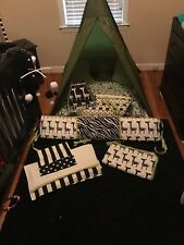 Customized Crib bedding. Boy or girl. Black and white with Apple green.