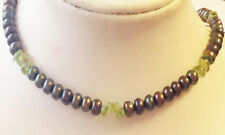 Dark green fresh water pearls with peridot beads necklace 20in
