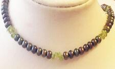 VERDE scuro acqua fresca perle con PERIDOT perle collana 20in